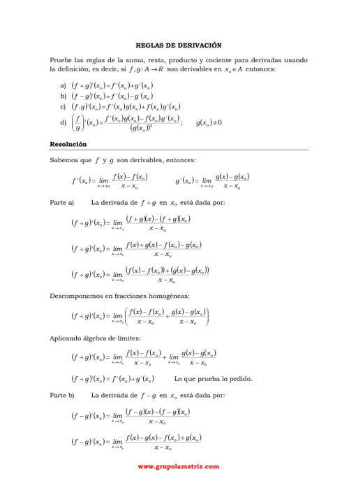 Derivada por definición - Reglas de derivacion