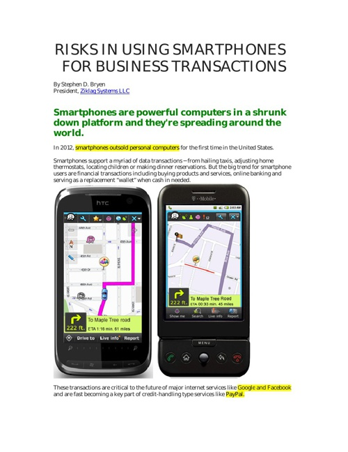 RISKS IN USING SMARTPHONES FOR BUSINESS TRANSACTIONS