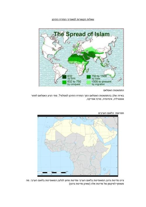 מפות שונות בנושאי המזרח התיכון לחיבור מבחן או בוחן