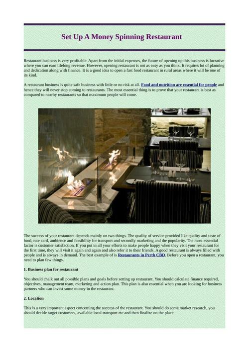 Set Up A Money Spinning Restaurant