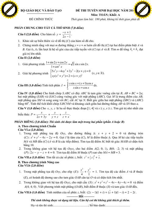 Tuyển tập đề đại học - cao đẳng qua các năm (p1)