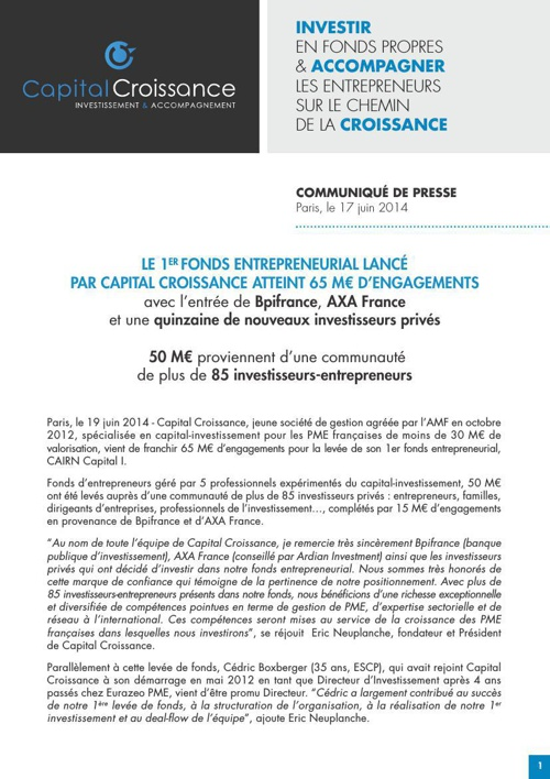 CP JUIN 2014 Capital Croissance
