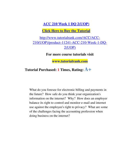 ACC 210 Course Experience Tradition / tutorialrank.com