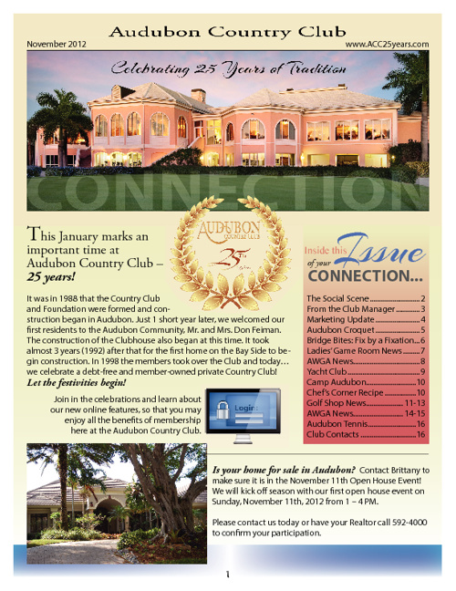 Audubon Country Club November 2012 Newsletter