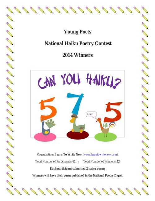 2014 Young Poets Haiku Contest  Winners