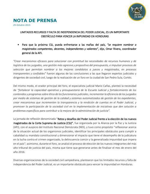 LIMITADOS RECURSOS Y FALTA DE INDEPENDENCIA DEL PODER JUDICI