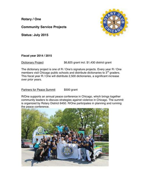 Community Service Projects 2014-2015