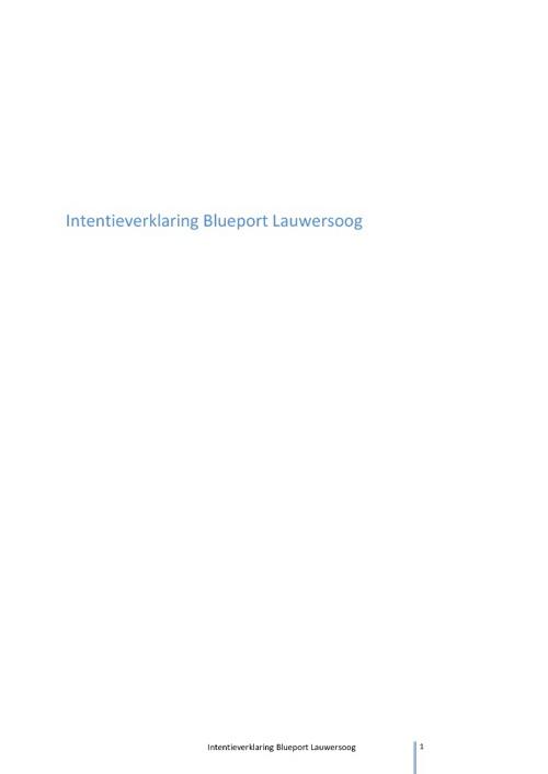 Intentieverklaring BluePort Lauwersoog