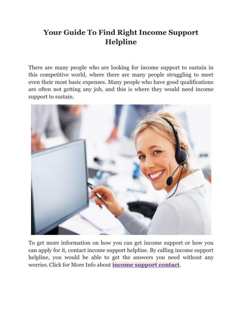 Your Guide To Find Right Income Support Helpline