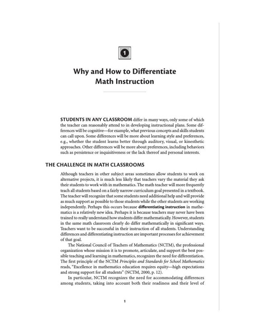 Differentiating Math Instruction Article