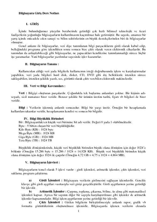 Bilgisayara Giriş Ders Notları