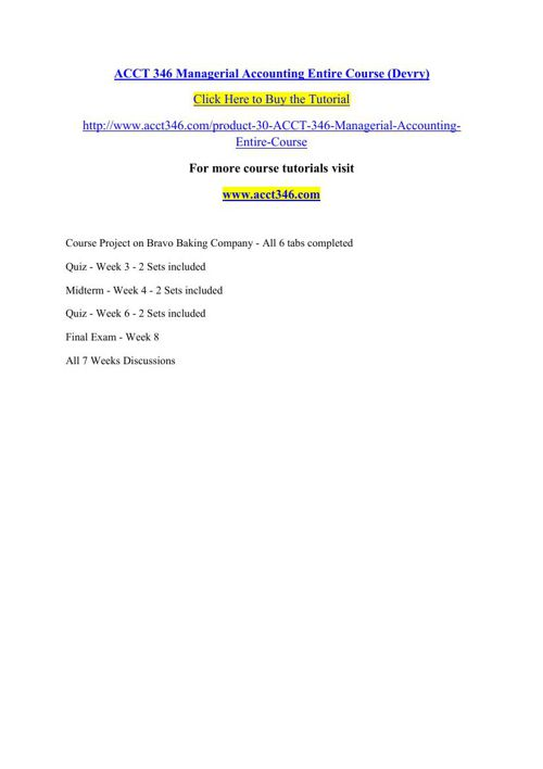 ACCT 346 Managerial Accounting Entire Course (Devry)