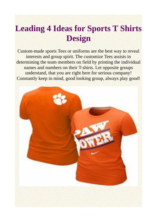 Leading 4 Ideas for Sports T Shirts Design