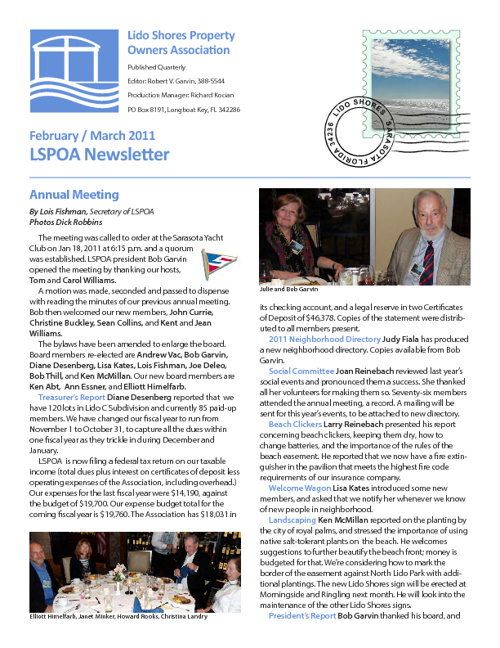 Lido Shores News Winter 2011