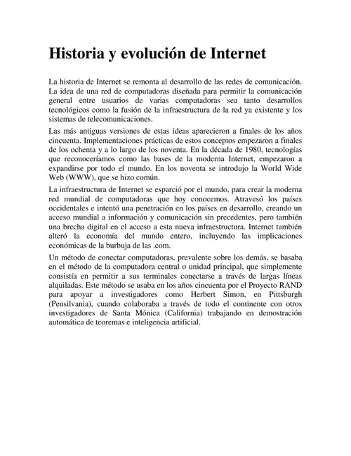 Historia y evolución del Internet