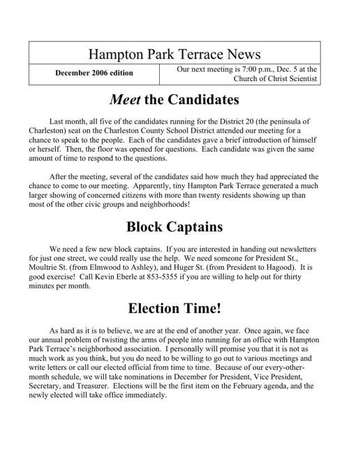 HPT Newsletter December 2006