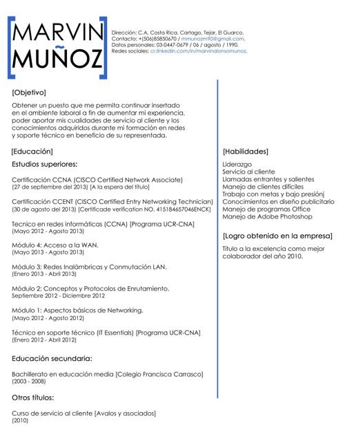CV Marvin Muñoz