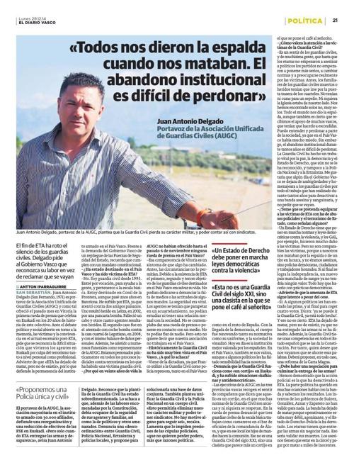 Entrevista Diario Vasco a Juan Antonio Delgado