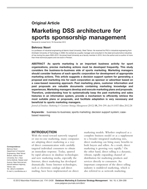 Marketing DSS architecture for sports sponsorship management