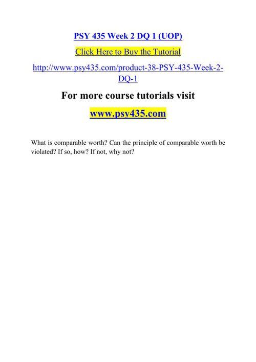 PSY 435 Week 2 DQ 1 (UOP)
