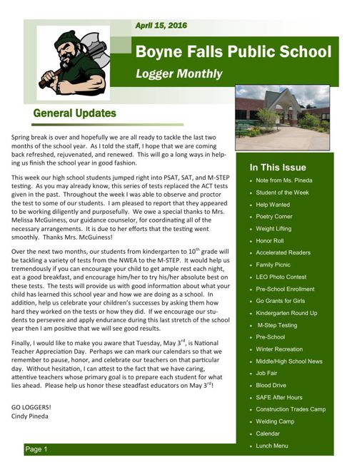 April 15, 2016 Logger Monthly