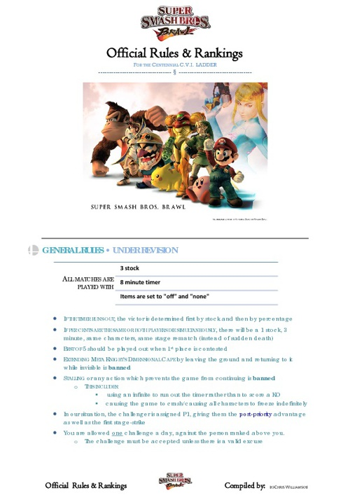 Super Smash Bros. Brawl • Unofficial Rule Set