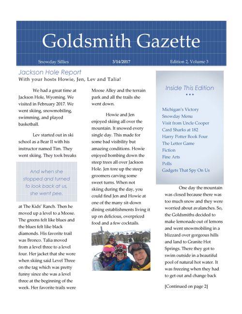 Goldsmith Gazette March 2017