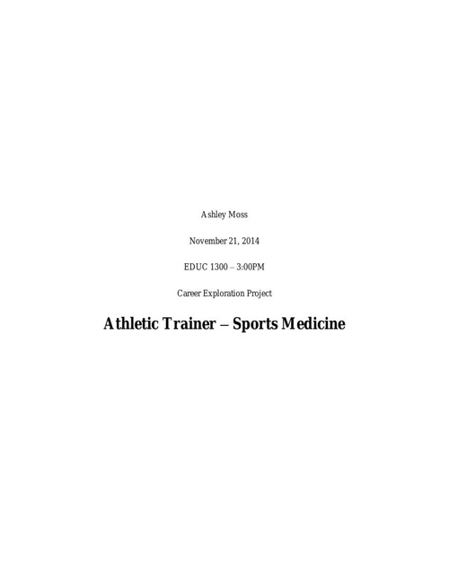 Career Exploration Project - Athletic Trainer
