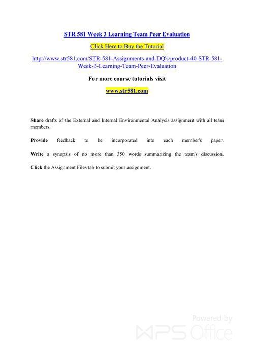 STR 581 Week 3 Learning Team Peer Evaluation