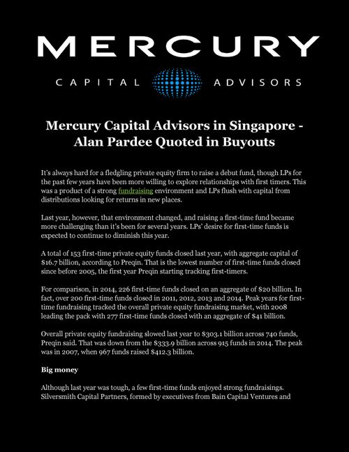 Mercury Capital Advisors in Singapore - Alan Pardee Quoted