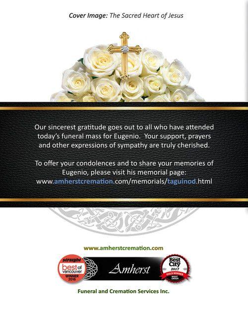 Memorial Card for Eugenio Taguinod