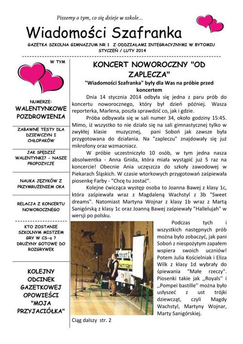 Wiadomości Szafranka  - 01/02 2014