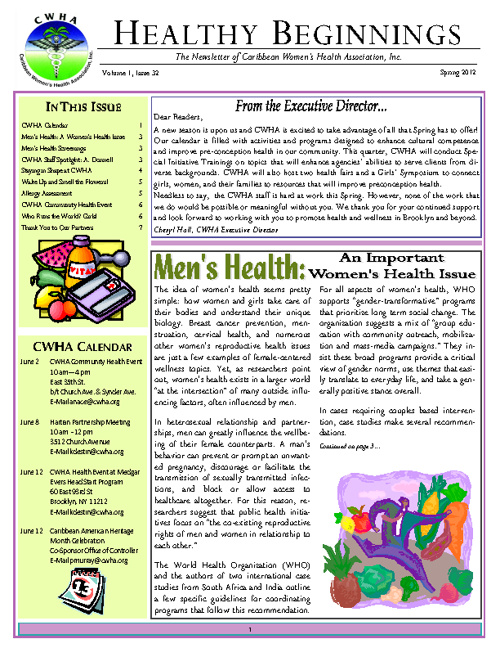 CWHA Spring Newsletter 2012