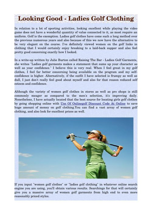 Looking Good - Ladies Golf Clothing
