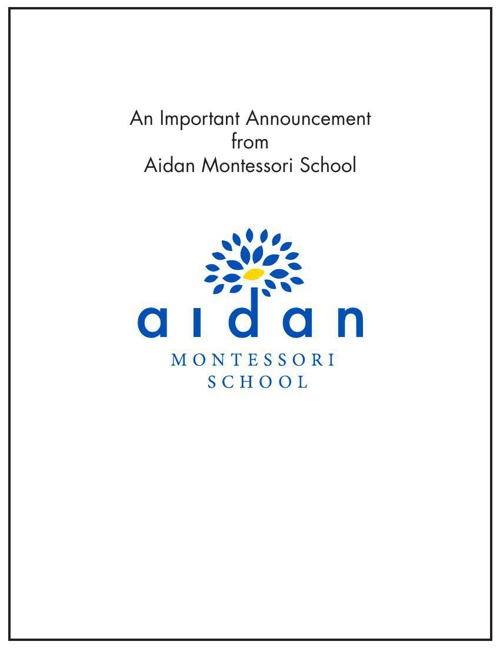 An Important Announcement from Aidan Montessori School