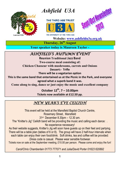 AU3A newsletter for September 2013