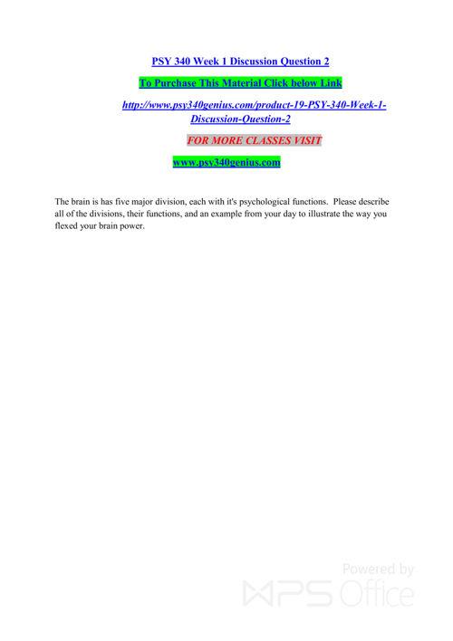 PSY 340 GENIUS Entire course /psy340genius.com