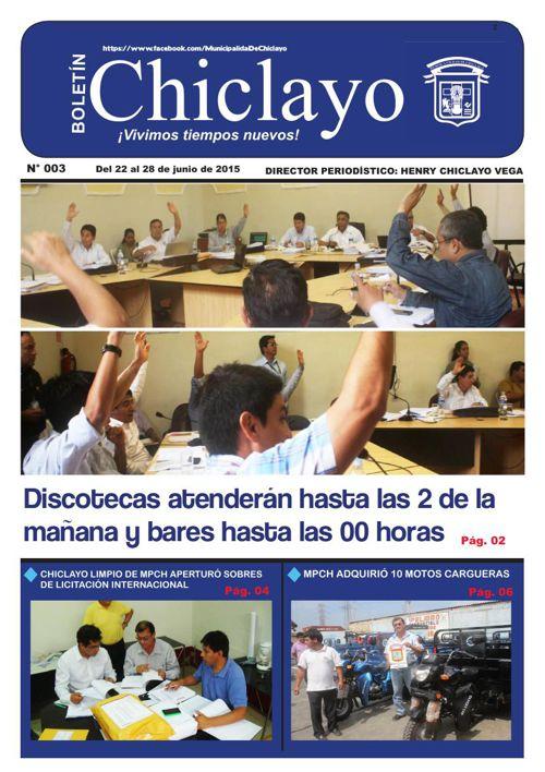 """Boletín """"Chiclayo"""" - N° 003"""