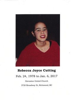 Funeral Service Program for Rebecca Joyce Cutting