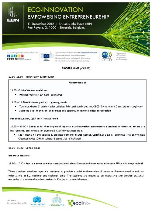 Eco-Innovation Empowering Entrepreneurship - Programme