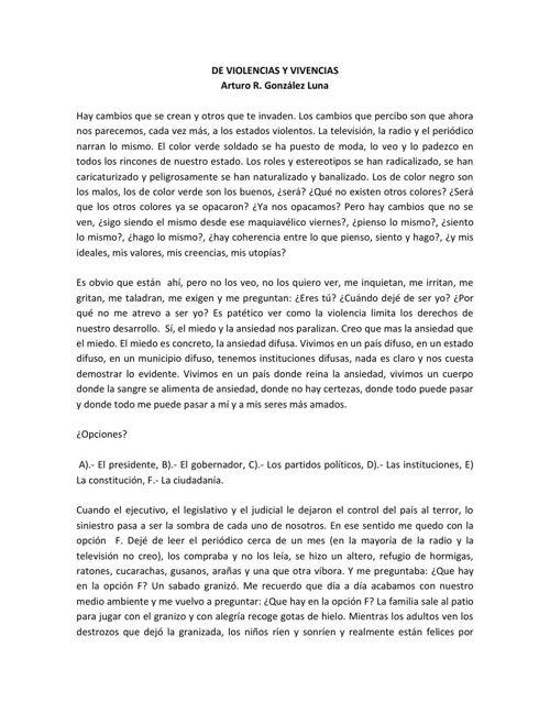 1. DE VIOLENCIAS Y VIVENCIAS