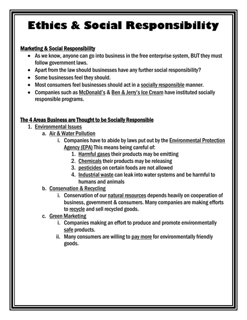Ethics and Social Responsbility Note-Taking Guide