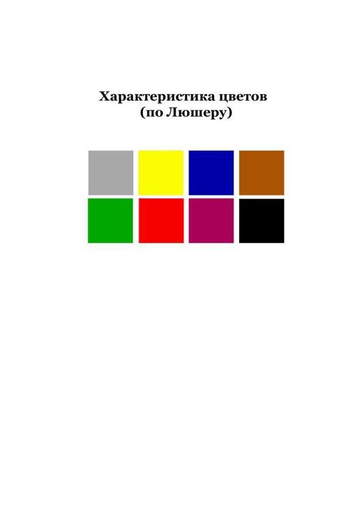 Характеристика цветов (по Люшеру)