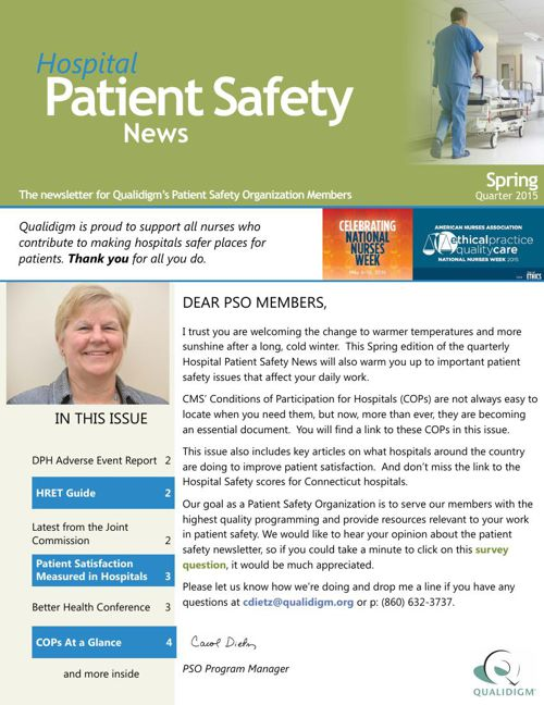 Hospital Patient Safety News Spring 2015 issue