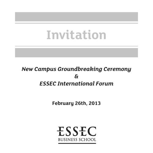 New Campus Groundbreaking Ceremony & ESSEC International Forum