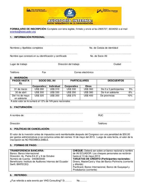 FORMULARION INSCRIPCION - 5o Congreso Nacional - IAI ECUADOR