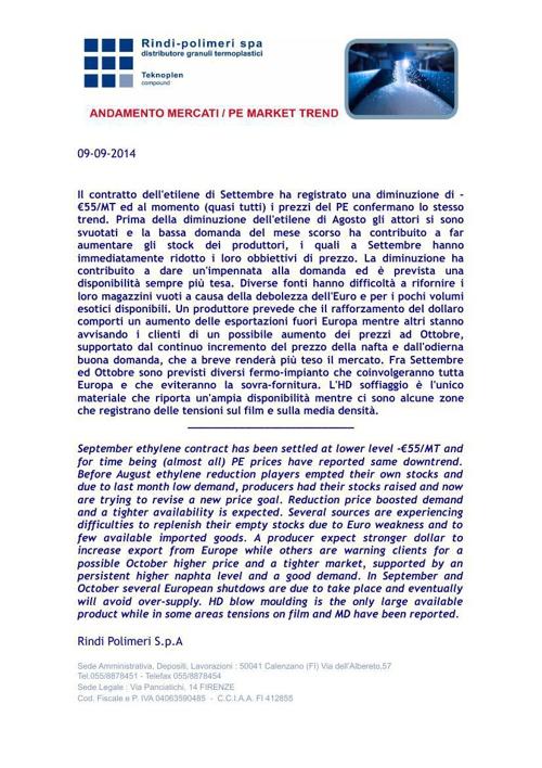 Informativa ANDAMENTO dei MERCATI_PP_09 Settembre 2014