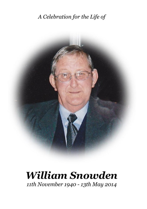 4 Order of Service for William Snowden