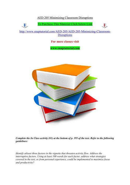 AED 205 Minimizing Classroom Disruptions