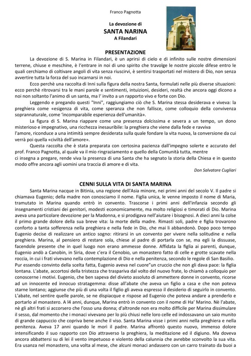 Libro Santa Marina Filandari